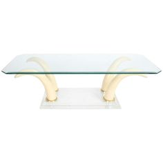 Faux Tusk Cocktail Table with Lucite Base and Glass Top Kitchen Seating Area, Lucite Coffee Tables, Cocktail Tables, Table Furniture, Great Rooms, Base, Antiques, Modern, Hollywood Regency