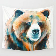 Grizzly Bear Wall Hanging Tapestry by Slaveika Aladjova - Small: x Society 6 Tapestry, Red Panda, Tapestry Wall Hanging, Outdoor Walls, Cute Gifts, Vivid Colors, Picnic Blanket, Wildlife