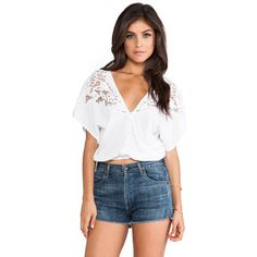 Tiare Hawaii Lace Panel Plumeria Blouse ($60) ❤ liked on Polyvore featuring tops, blouses, white v neck blouse, lace insert top, tiare hawaii, white blouses and cutout blouse