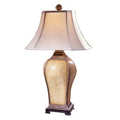 Porcelain Crackle Baron Table Lamp - UTT-27093, Resin base w/ looks of ancient Asian pottery.