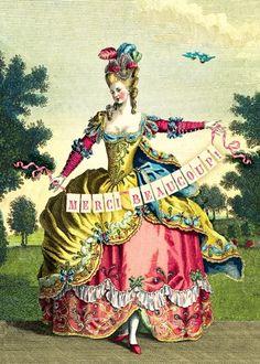 maria antonieta marie antoinette merci beaucoup Thank you card by Cartolina cards Vintage Cards, Vintage Postcards, Vintage Images, Vintage Glamour, Vintage Ladies, Marie Antoinette, Merci Marie, 18th Century Fashion, Vintage Birthday