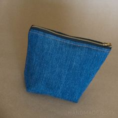 Small recycled denim cosmetic bag/coin purse by HandMadejesty