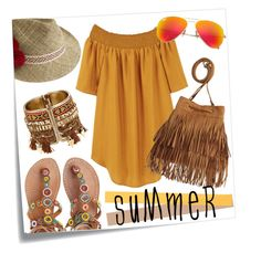 """""""spring/summer 2016 outfit #13"""" by tobeglam ❤ liked on Polyvore featuring Post-It, Laidback London, MANGO, H&M, Justine Hats, Ray-Ban, Summer and yellowdress"""