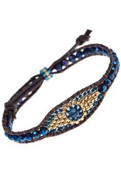 designer leather bracelet miyuki beads crystal blue eye gold