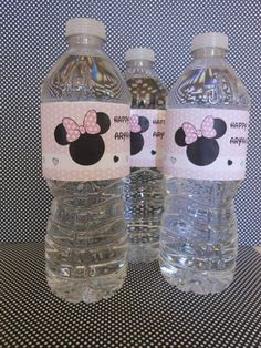 Minnie Mouse light Pink Water Bottle by ASweetCelebration on Etsy