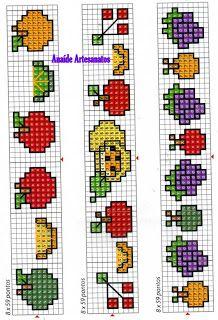 Anaide Ponto Cruz: Lindos gráficos mini de frutas em ponto cruz!!!!!!segunda parte!!!!!! Cross Stitch Fruit, Butterfly Cross Stitch, Mini Cross Stitch, Beaded Cross Stitch, Cross Stitch Borders, Cross Stitching, Cross Stitch Embroidery, Cross Stitch Patterns, Crochet Patterns