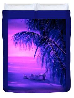 Tropical Duvet Cover featuring the painting Boat At Sunset by Faye Anastasopoulou Fusion Art, Ocean Scenes, Sunset Colors, My Themes, Pink Tone, Basic Colors, Artist At Work, Color Show, Colorful Backgrounds