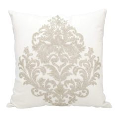 Mina Victory Luminecence Beaded Damask Silver Throw Pillow