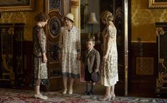 Penny Downie as Lady Sinderby, Alice Patten as Diana Clark & Lily James as Lady Rose in Downton Abbey Christmas special
