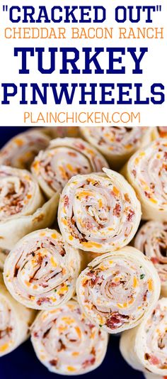 Low Carb Meals Cracked Out Turkey Pinwheels - I am ADDICTED to these sandwiches! Cream cheese, cheddar, bacon, Ranch and turkey wrapped in a tortilla. Can make ahead of time and refrigerate until ready to eat. Perfect for parties and tailgating! Apéritifs Pinwheel, Pinwheel Recipes, Tortilla Pinwheel Appetizers, Tortilla Pinwheels, Cream Cheese Pinwheels, Mexican Pinwheels, Snacks Für Party, Appetizers For Party, Appetizer Recipes