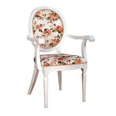 Cadeira Bordeaux Com Braço.  CorBranca / Floral  MaterialCarvalho Americano/Tecido  MedidasLargura: 49 cm xAltura: 100 cm x Profundidade: 50 cm