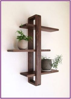 Today Pin - Daily Good Pin - Modern Wood Wall Shelf, Solid Walnut for Hanging Plants, Books, Photos. Wood Wall Shelf, Wood Shelves, Floating Shelves, Pallet Shelves, Palet Shelf, Wood Wall Decor, Hanging Shelves, Diy Wood Projects, Wood Crafts