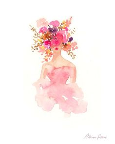 Items similar to Fashion Illustration Print - Watercolor Fashion Sketch - Flower Crown - Home Decor - Couture - Flower Print - Pastels by Rhian Awni on Etsy on Etsy Sketches Drawing Art And Illustration, Fashion Illustration Sketches, Watercolor Illustration, Fashion Sketches, Illustrations Vintage, Art Watercolor, Watercolor Fashion, Watercolor Dress, Fashion Painting