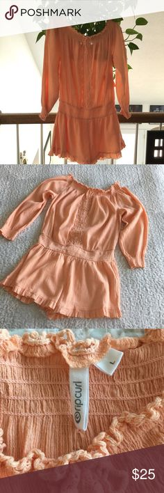 """NWT - Rip Curl Romper Off shoulder - Peach color.  Approximate measurements (flat, not stretched): bust: 20"""", band: 15"""",  inseam: 1 3/4"""", sleeve (from armpit):15 1/2"""".  Shorts are lined. Rip Curl Other"""