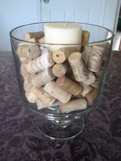 Use your trifle bowl to make a centerpiece using wine corks and a candle...simple and elegant