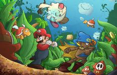 Super Mario RPG: Legend of the Seven Stars Fan Artwork Mario And Luigi, Mario Bros, Acrylic Painting Trees, Super Mario Rpg, Princess Toadstool, Video Game Art, Video Games, Art Drawings For Kids, Super Smash Bros