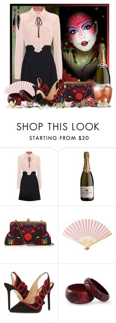 """""""What if today we turned our sour grapes into champagne, toasted our future and loved one another . . ."""" by doozer ❤ liked on Polyvore featuring Miu Miu, Sarah's Bag, Cultural Intrigue, Charlotte Olympia, NOVICA and N°21"""