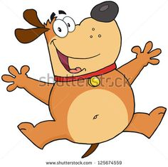 Happy Fat Dog Jumping. Raster Illustration.Vector version also available in portfolio.