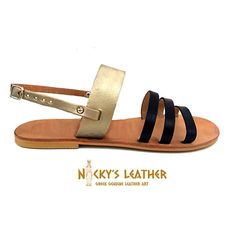 LEATHER SANDALS Strappy Sandals from 100% Full Grain Leather in Black - Platinum Gold by NickysLeather