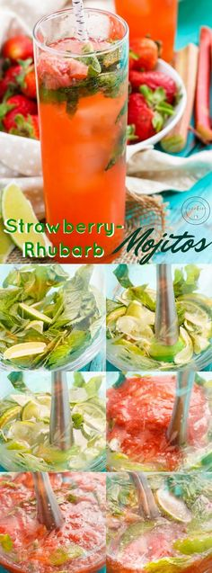 Garden Fresh Strawberry-Rhubarb Mojitos - The Cookie Writer Iced Tea Recipes, Easy Drink Recipes, Sangria Recipes, Drinks Alcohol Recipes, Coffee Recipes, Cocktail Recipes, Alcoholic Beverages, Refreshing Cocktails, Fun Cocktails