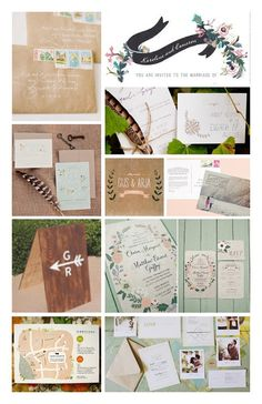 Wedding Invitation Inspiration board & Wedding Stationary Checklist. Save The Dates, Invites, Wedding Map, RSVP, Thank You Cards, CD Cover, Bows and Arrows