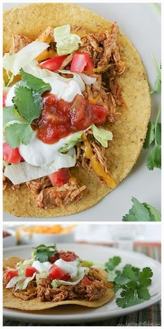 Slow Cooker Chicken Tostadas from Taste and Tell are great for an easy family dinner. #CrockPot #SlowCooker #Recipe #Tostada #Chicken