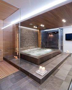 Instagram Jacuzzi Tub Decor, Jacuzzi Bathroom, Bathroom Toilets, Bath Tub, Dream House Interior, Dream Home Design, House Design, Loft Design, Luxury House Plans