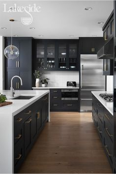 A drawer or cabinet for every single item in this black and white kitchen. Kitchen Room Design, Kitchen Cabinet Design, Home Decor Kitchen, Interior Design Kitchen, Kitchen Living, Kitchen Furniture, Home Kitchens, Kitchen Modern, Kitchen Storage