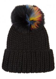 Rain black fur pompom wool beanie