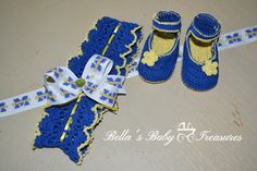 Michigan University Inspired Booties and Headband by BellasBabyTreasures on Etsy