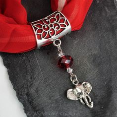 Elephant Scarf Ring, Slider Pendant with Red Crystal Beading, Scarf Jewellery £6.50