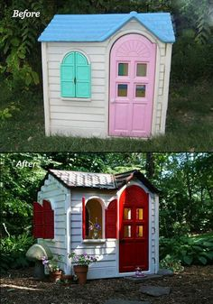 Spray paint brings a play house back to life.... doing this when kids go back to school !!!