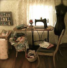 Kathleen Holmes dollhouse sewing room.