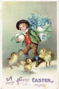 A Very Happy Easter to You Antique Postcard by heritagepostcards $4.00 on Etsy
