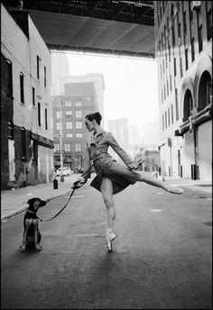 Ballerina walking her dog. Classic.
