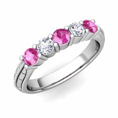 5 stone wedding band or anniversary ring with diamonds and pink sapphires