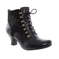 Black Hush Puppies Leather Lace Up Ankle Boots - Mid heel boots - Shoes & boots - Women -