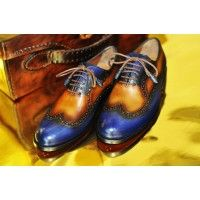 TucciPolo Womens Handmade Wingtip Oxford Style Black Luxury Shoe
