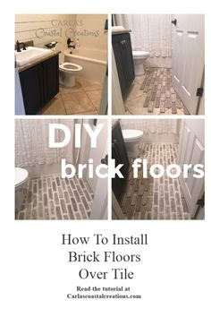 painting tile floors Check out the tutorial on how you can install these floors yourself over existing tile Painting Bathroom Tiles, Painting Tile Floors, Bathroom Flooring, Painting Over Tiles, Tile Over Tile, Painting Ceramic Tile Floor, Ceramic Tile Bathrooms, Bathroom Mirrors, Home Renovation