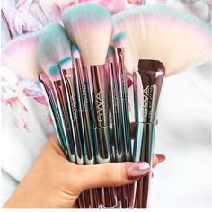 """BEAUTY junkie and makeup collector Sandy Trang with her new GWA Unicorn Fantasy Collection makeup brushes! """"How stunning are these ...can't take my eyes off them. They are even more beautiful in person."""" #gwalondon 