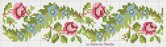 Cross stitch old fashioned rose border Mini Cross Stitch, Beaded Cross Stitch, Cross Stitch Borders, Cross Stitch Rose, Cross Stitch Flowers, Cross Stitch Charts, Cross Stitch Designs, Cross Stitching, Cross Stitch Embroidery
