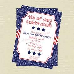 Printable Paisley 4th of July Invitation by NoteworthyPrintables, $10.00