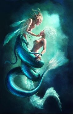 Mermaids - Digital Illustrations by Zheng Xun See #Art #Digital ... I think their both chicks but I'm not really sure ... But they are super pretty!!