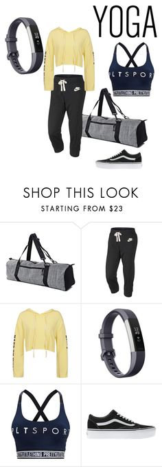 """Ready to Meditate and burn some Calories"" by nikitamerchant ❤ liked on Polyvore featuring NIKE, Sans Souci, Fitbit, Pretty Little Thing and Vans"