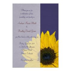 Navy Blue Yellow Sunflower Wedding Invitation-do something like this if we don't do engagement pics