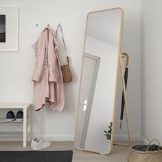 IKORNNES Floor mirror IKEA Tired in the mornings? You can save time by hanging tomorrow's outfit behind the mirror. Ikea Lisabo, Floor Standing Mirror, Mirror Floor, Ikea Mirror, Dorm Mirror, Mirror Room Divider, Storage Mirror, Shoe Storage, Ikea Home