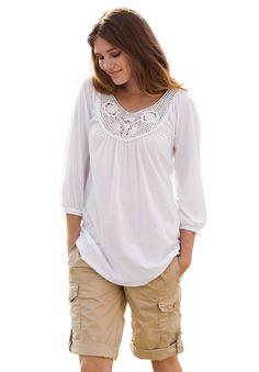 Tunic top, open crochet, by Ellos® | Plus Size Ellos® | Woman Within