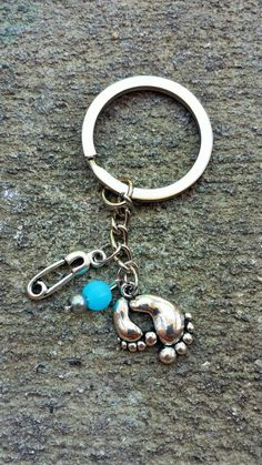 Baby Boy Footprint and Safety Pin Key Chain // by BambinoGifts