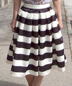 Cream & Black Stripe Midi Skirt - Women #zulily #zulilyfinds