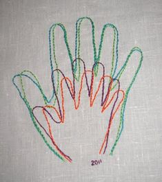 Another gorgeous idea- embroidering hands for a unique family portrait!